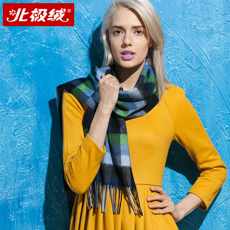 Ms. beiji rong 100% pure wool scarf autumn and winter warm plaid scarf female winter thick section