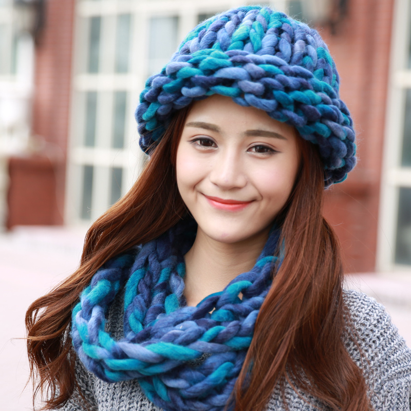 Ms. blending wool hat winter hat scarf piece of autumn and winter coarse knitting warm winter hat fashion millinery