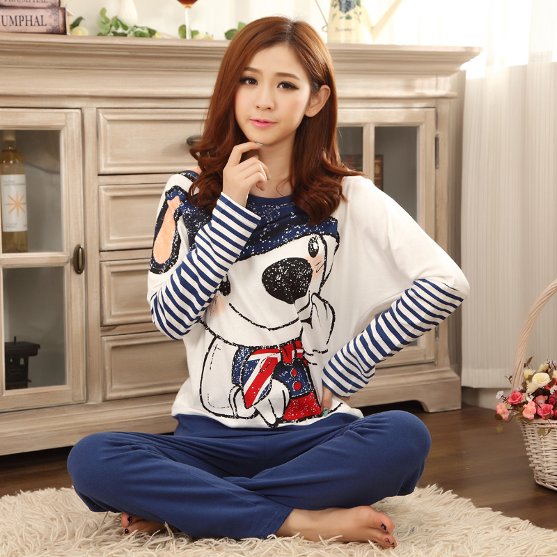 Ms. cotton autumn and winter pajamas cute bunny cartoon casual cotton pajamas suit tracksuit long sleeve pajamas