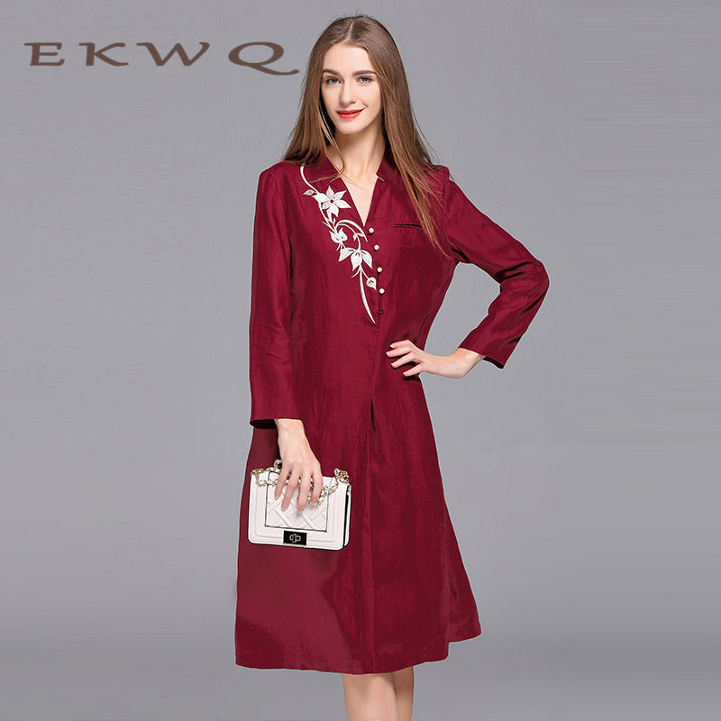 Ms. european and american fashion winter youth ekwq 2016 embroidery leisure fashion long sleeve dress slim 0129