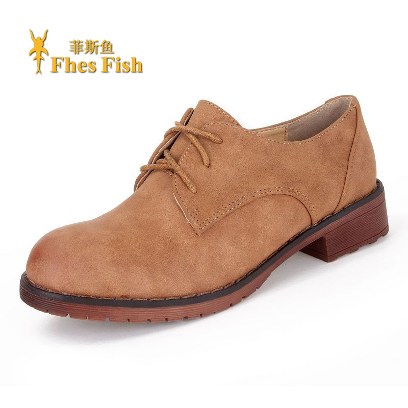 Ms. fhesfish custom spring and summer 2016 new england retro shoes round flat shoes oxford shoes
