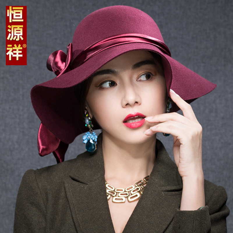 Ms. heng yuan xiang pure wool hat autumn and winter bow korean version of woolen small hat fashion hat