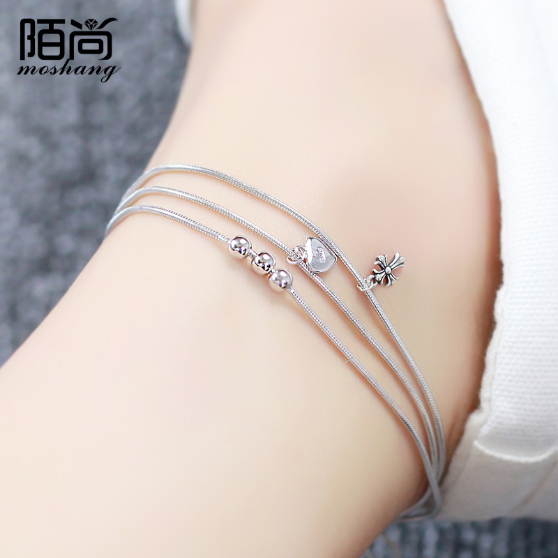Ms. korean street still 925 silver anklets silver jewelry lovers korean version of sweet student girlfriends birthday gift accessories