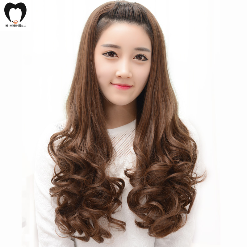 Ms. mei woman half wig caps long curly hair wig big wave long hair fluffy repair lifelike face