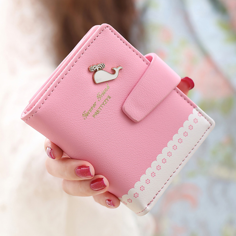 Ms. pu ruidi wallet female short paragraph 2016 korean version of the cartoon whale cute zipper wallet wallet student