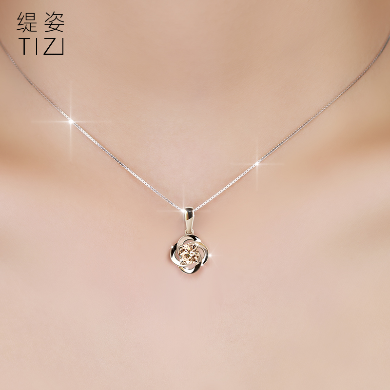 Ms. silver necklace clover female clavicle chain silver necklace silver clover pendant minimalist japanese and korean tide