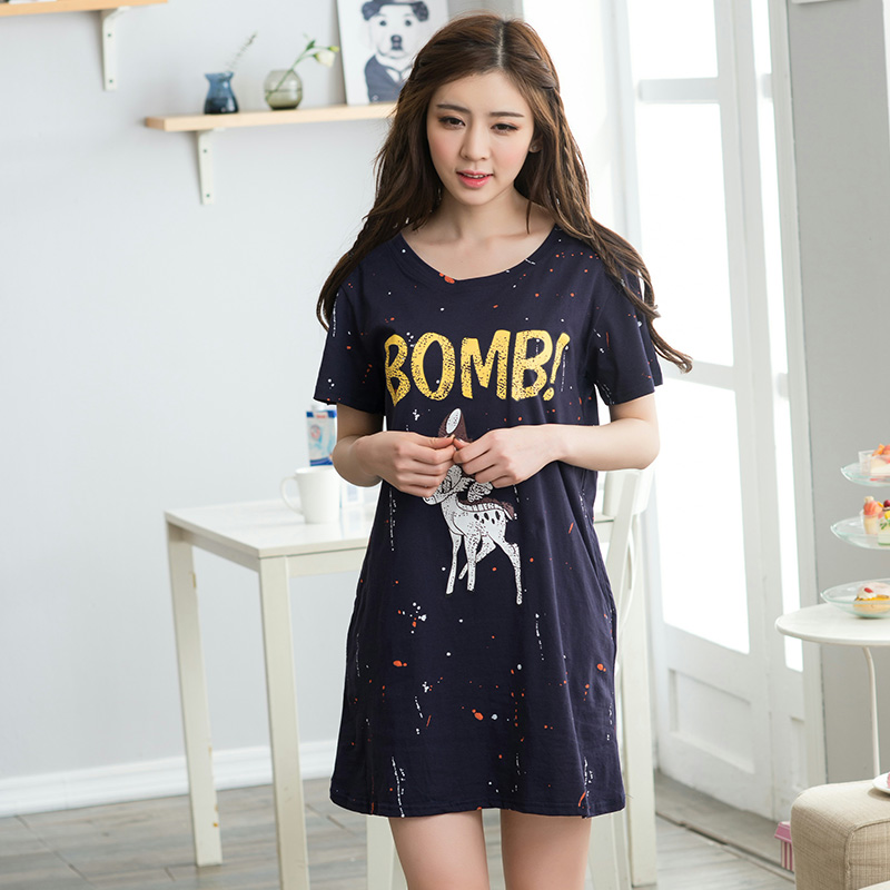 Get Quotations · Ms. summer pajamas female summer cotton short sleeve  nightdress korean women cute cartoon pajamas tracksuit ef06f05a9