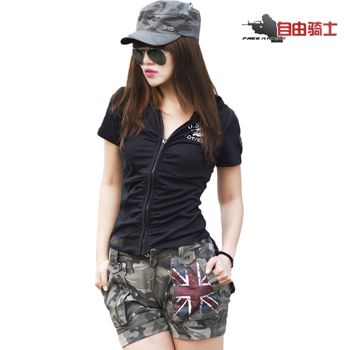 Ms. summer slim was thin camouflage short sleeve t-shirt women zipper cardigan short paragraph hoodie sweat compassionate