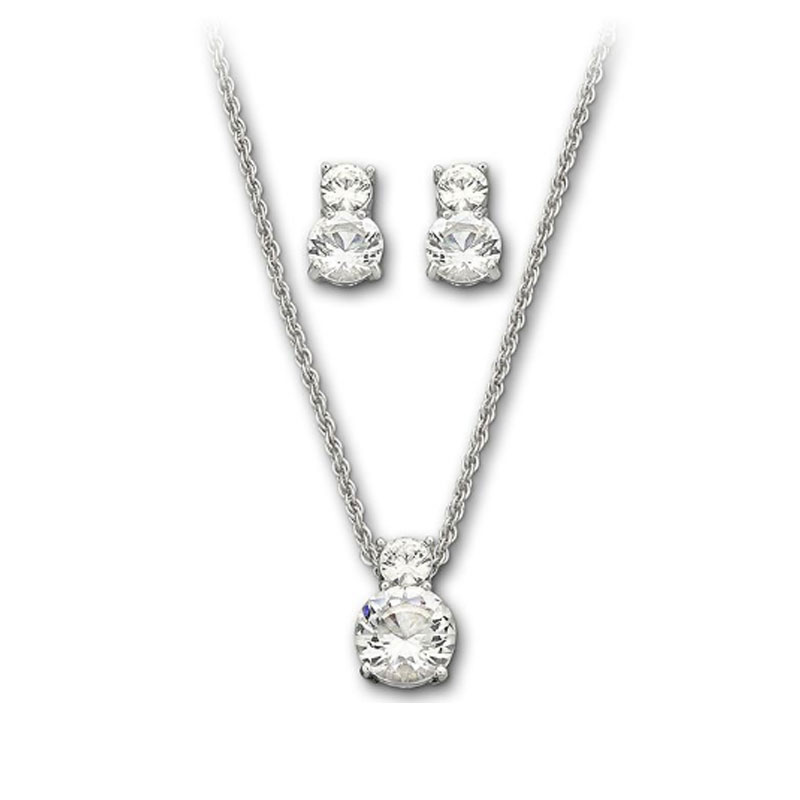 Ms. swarovski swarovski crystal texture clavicle pendant necklace earrings set 1807339