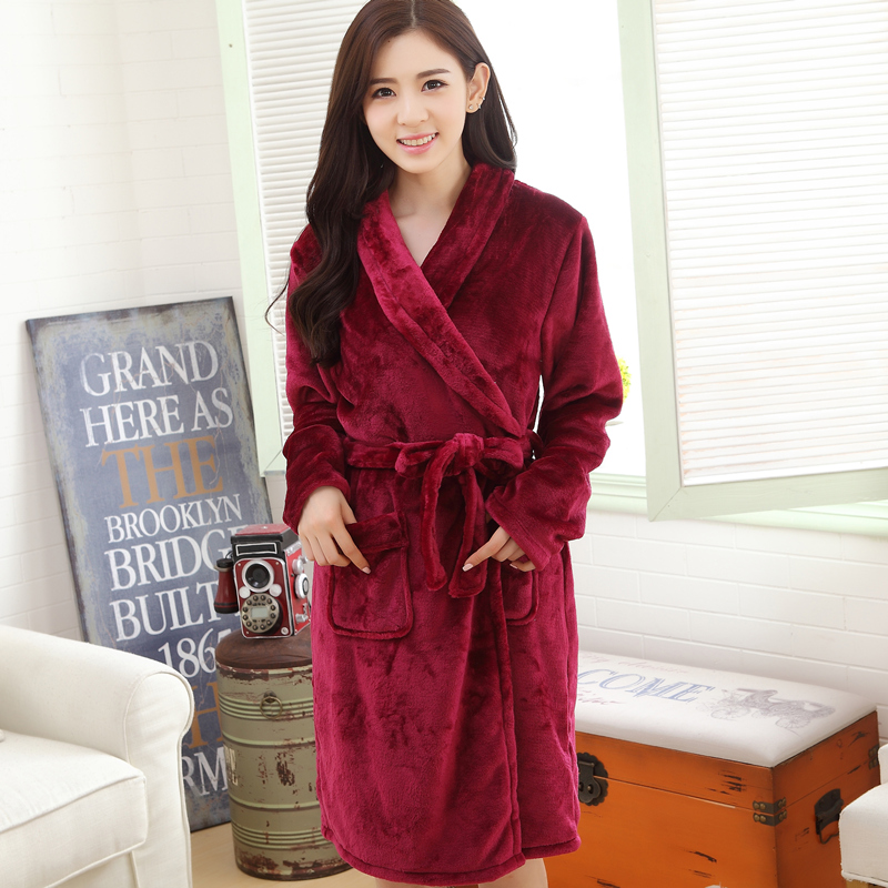 Get Quotations · Ms. winter coral velvet robe thick sense of female winter  flannel pajamas home service men 3147ce139