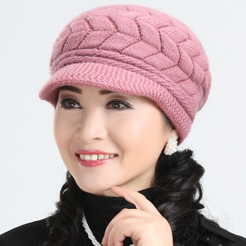 Ms. winter hat knitted wool hat in the elderly elderly mom thick warm hat cap autumn and winter days