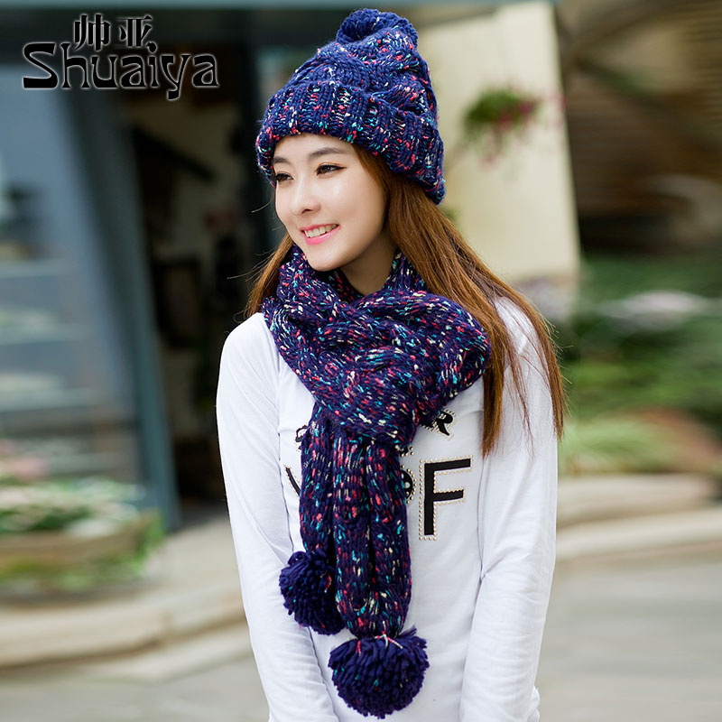 bab9d35dfd9e9 Get Quotations · Ms. winter scarves korean version of the suit to keep warm  winter knitted wool hat