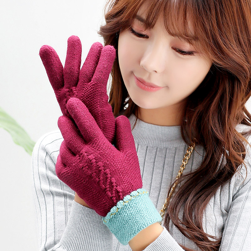 Ms. winter wool gloves korean cute plus thick velvet warm winter knit student points finger cycling gloves