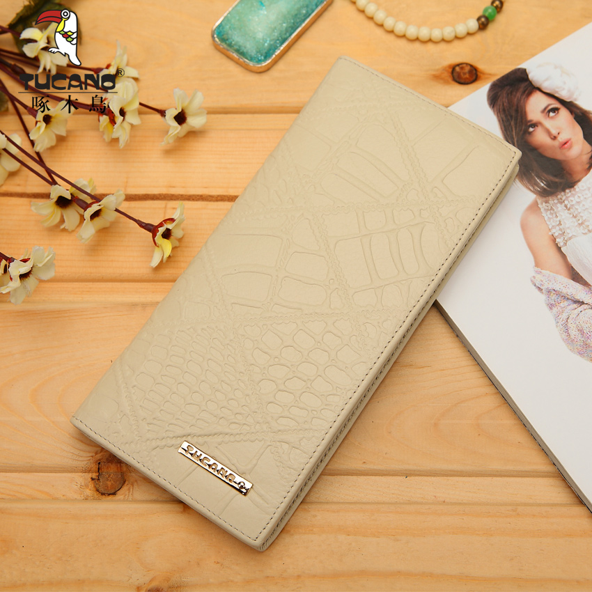 Ms. woodpeckers genuine leather wallet wallet embossed leather wallet long section of korean promotional fashion color optional