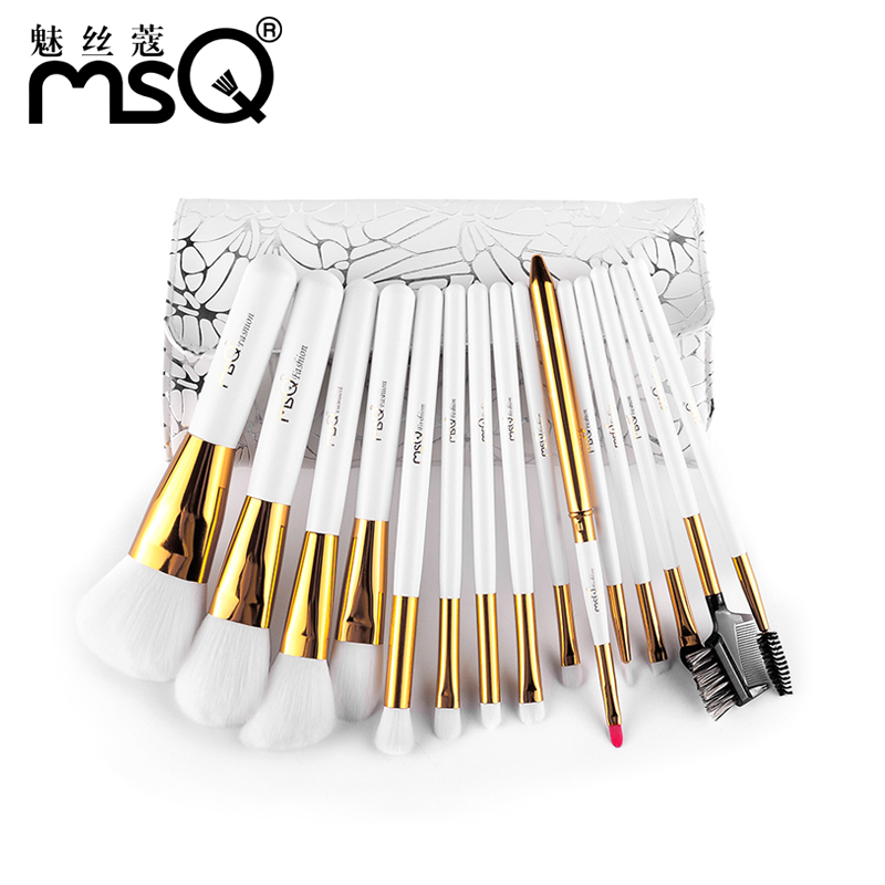 Msq/charm wire kou white loveræ¯æ¨ä¸èfiber hair makeup brush set 15 a full makeup tools