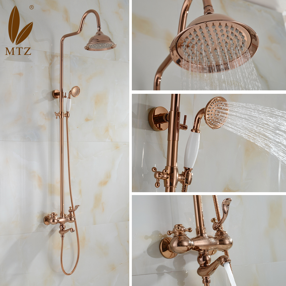 Mtz big shower faucet whole european copper multifunction shower faucet antique rose gold retro shipping