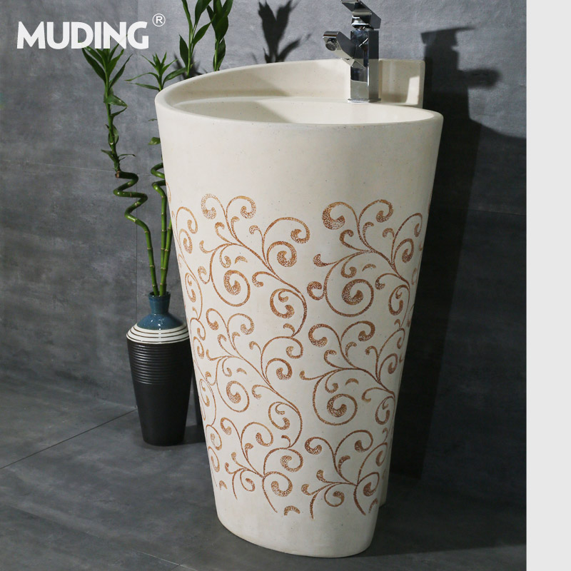 Mu tripod pedestal basin vanity wash basin pedestal antique luxury盆艺column pedestal basin with one combination