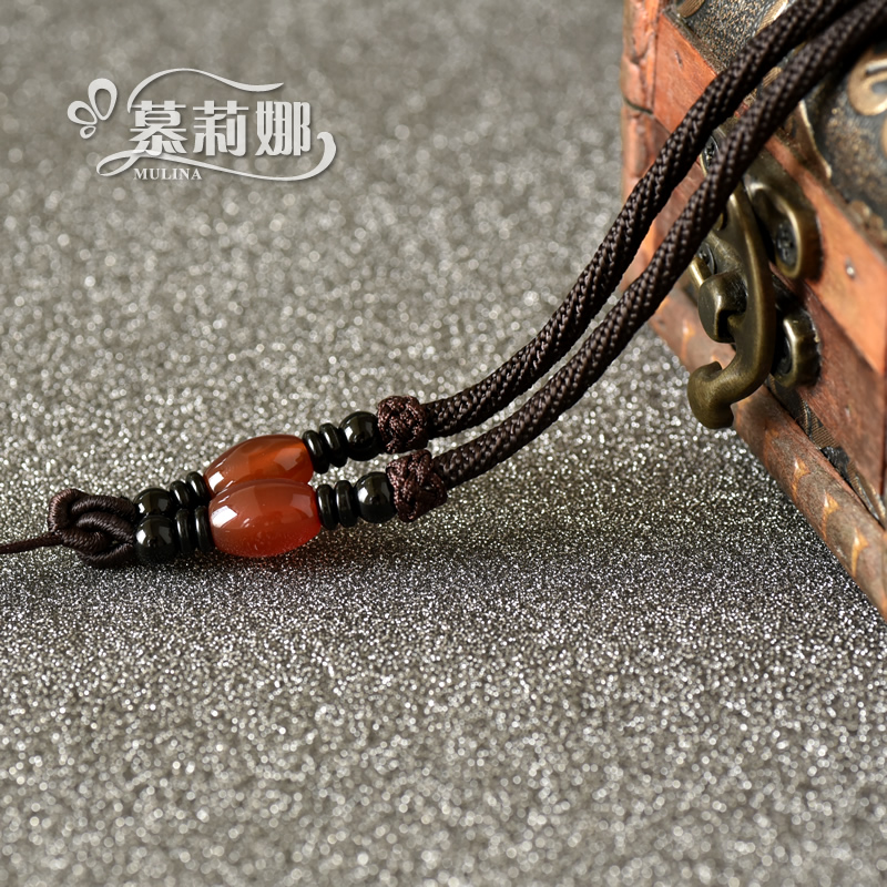 Muli na accessorise measle natural red agate pendant rope lanyard lanyard jade gold pendant necklace rope
