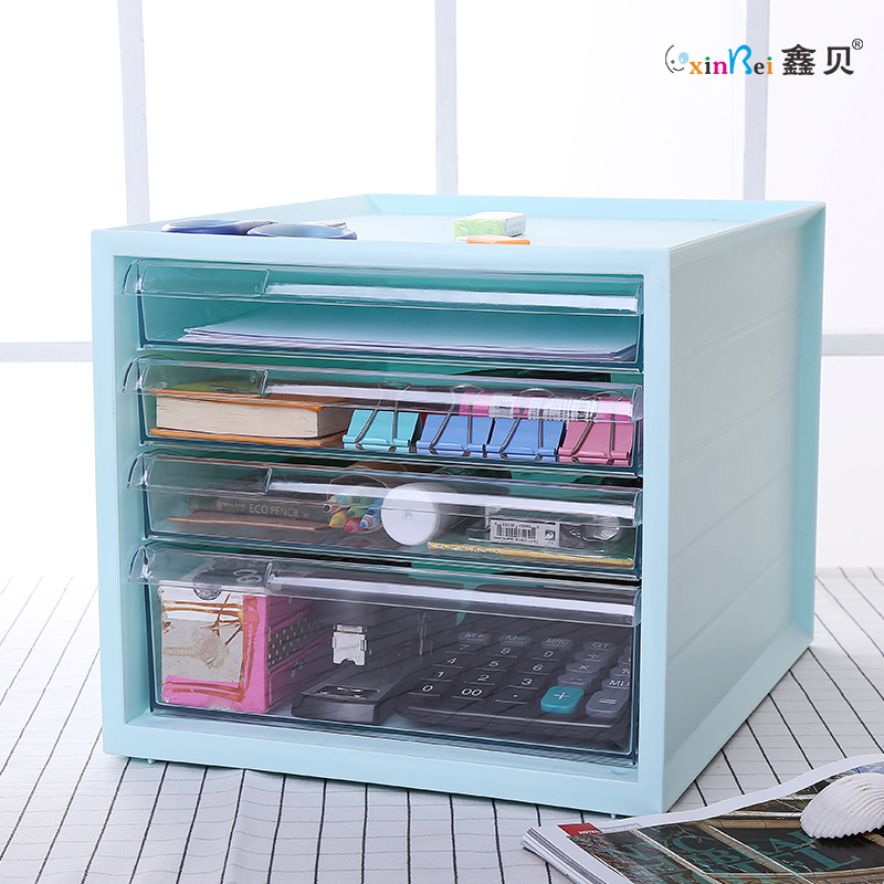 Get Quotations · Multifunction Desktop Storage Box Large Desktop  Transparent File Cabinet Desk Drawer Cosmetic Storage Box