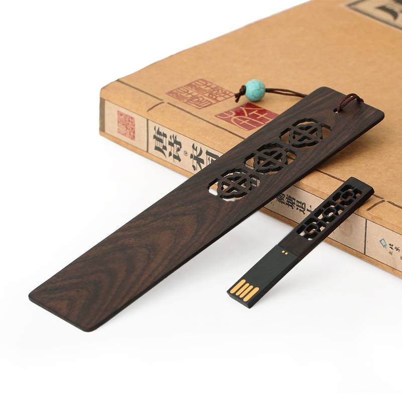 Mushi about classical chinese style bookmark bookmark creative custom birthday gift wood quality mahogany u disk kit
