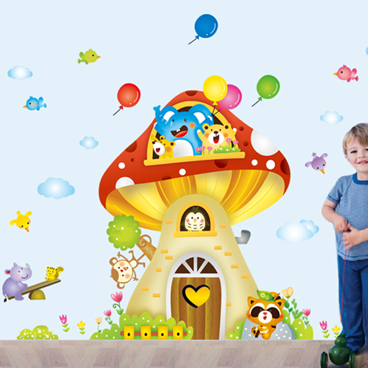 Mushroom house children's baby room removable wall stickers cartoon bedroom background wall home decorative wall stickers