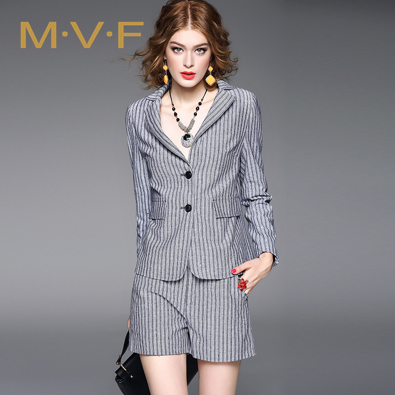 Mvf temperament ladies 2016 new european style ladies fashion striped casual shorts piece suit 2 203
