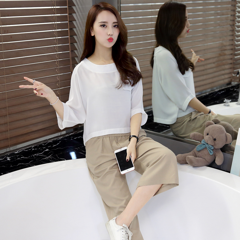 Mystery & veil korean summer round neck cotton shirt fashion loose wide leg pants suit piece