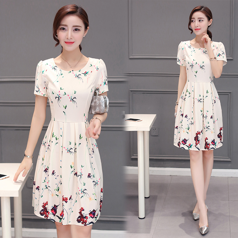 Mystery & veil summer printed round neck and long sections slim korean version of the a-line dress tutu skirt dress women