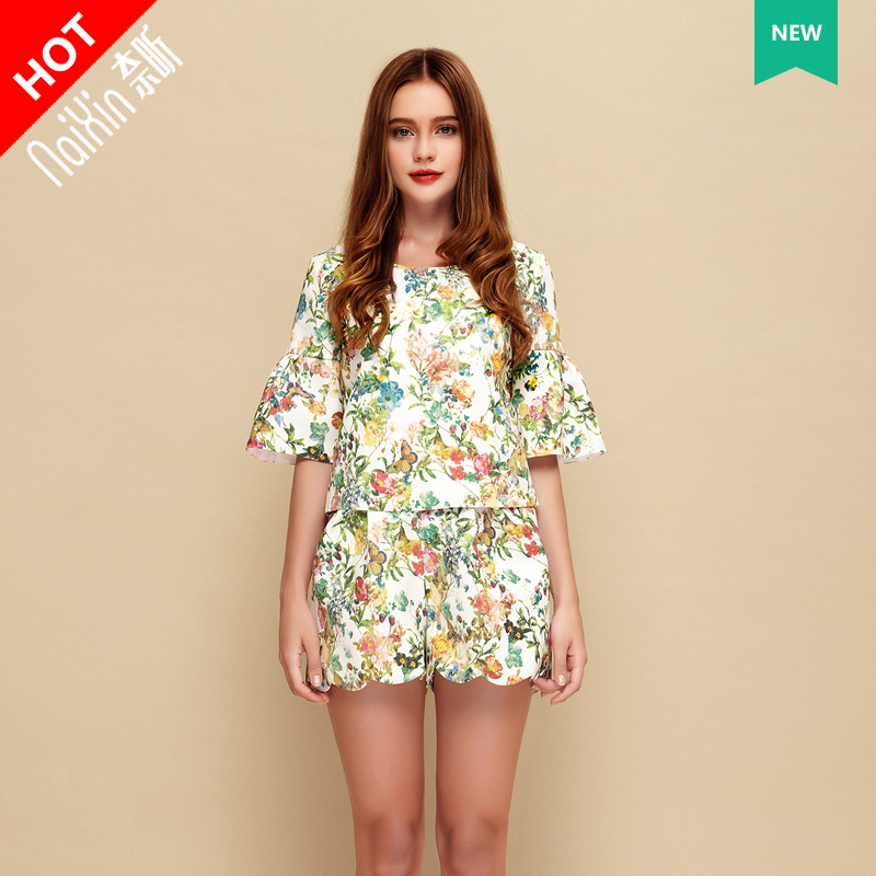 Nai xin custom 21215 custom high fashion loose floral print shirt + skirt suit fashion sleeve dress