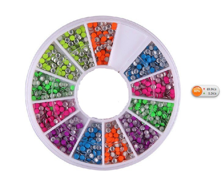 Nail jewelry fluorescent candy colored rivets metal rivets rivets 2.0mm color nail drill 6 colors mixed
