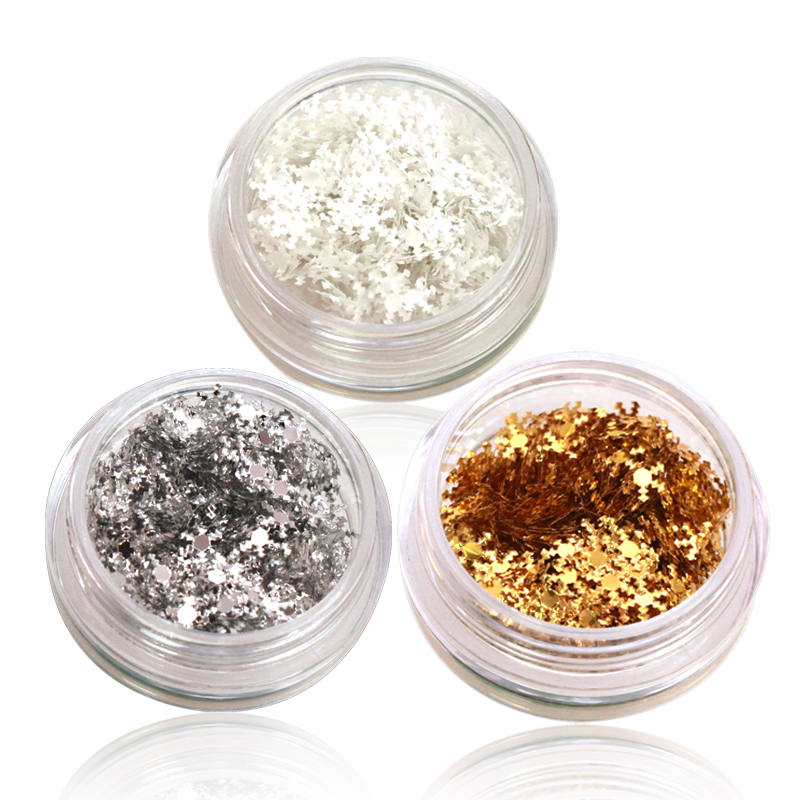 Nail supplies super bright jewelry sequined christmas glitter snowflake applique large round white sequins 3 loaded