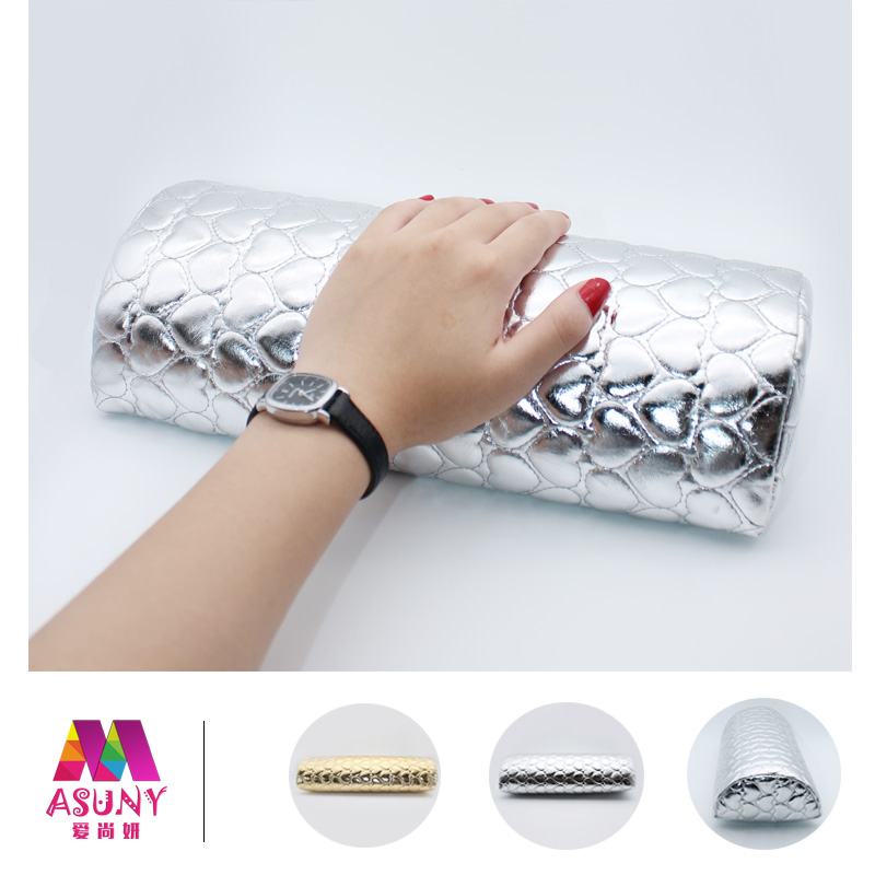 Nail supplies tools with a pad shaped about'polishing oil plastic glue phototherapy a leather hand pillow hand pillow hand pad with heart