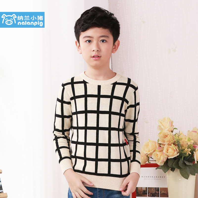 Nalan pig boy sweater children sweater long sleeve sweater 2016 autumn new korean version of the big boy sweater tide