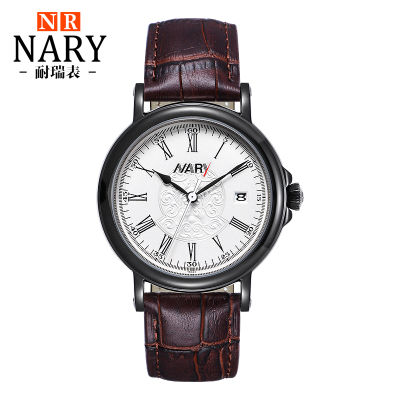 Nary dial watches men automatic mechanical male table retro belt waterproof rome carved 361-degree business male watch