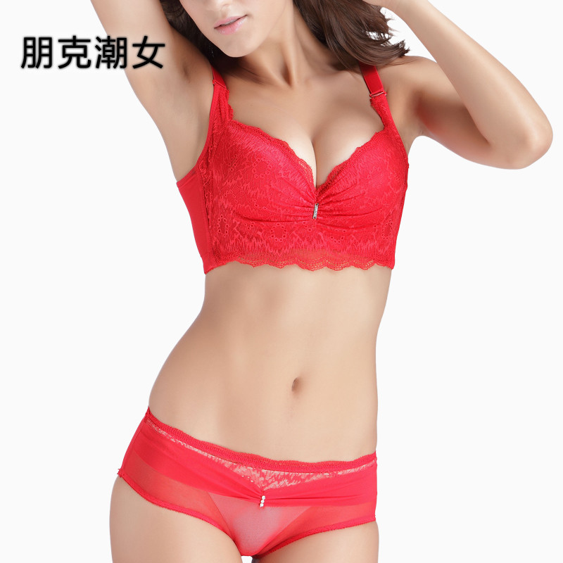 Natal red bra set wedding bridal lingerie lace sexy female underwear gather adjustable thickness models