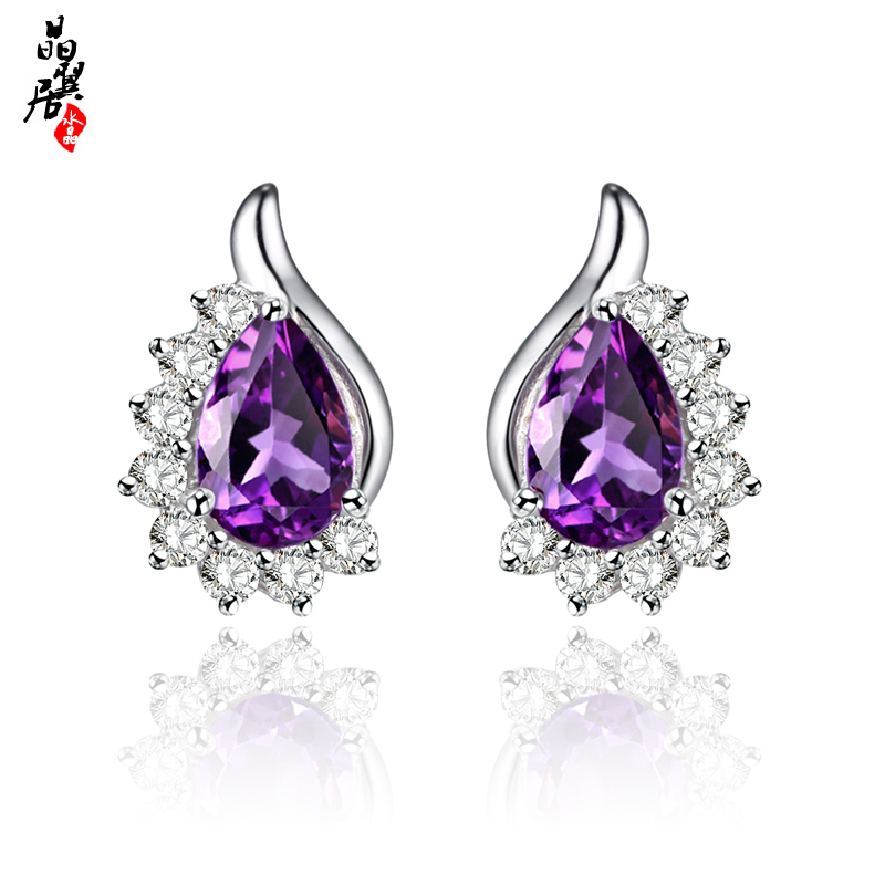 Natural amethyst earrings topaz/peridot earrings 925 silver jewelry earrings female south korean sweet