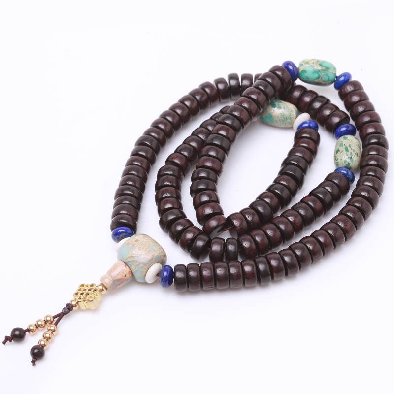 Natural colors indonesia old material loach back coconut coir pedicle bracelets 108 prayer beads hand chain ornaments man playing playing