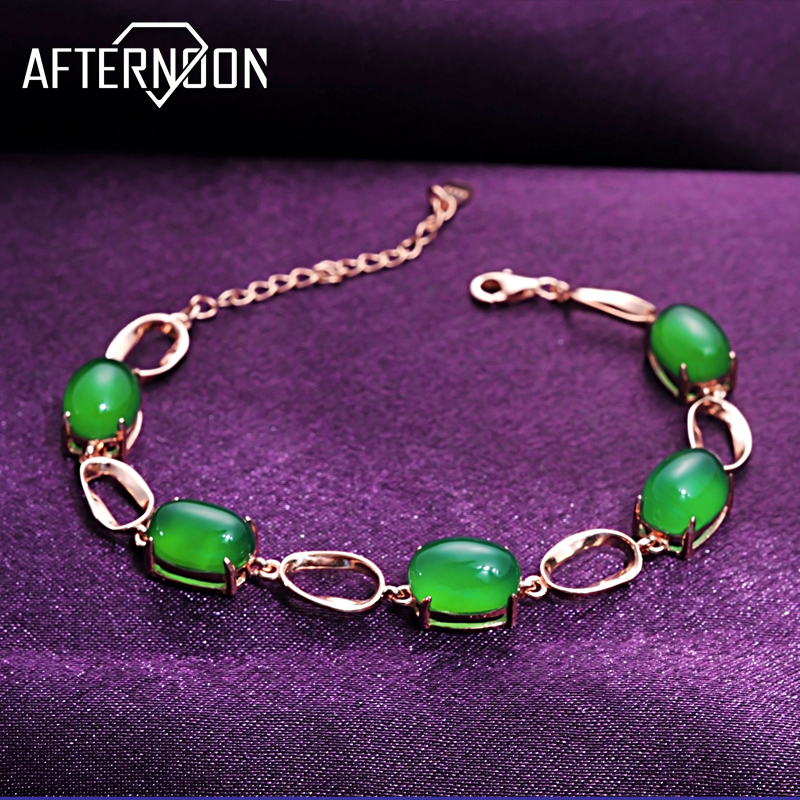 Natural emerald green chalcedony bracelet female 925 sterling silver bracelet korean fashion jewelry rose gold birthday gift