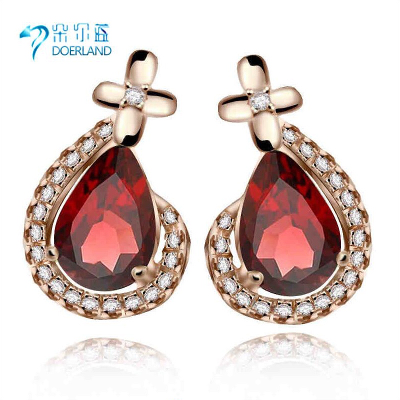Natural garnet earrings 925 silver rose gold plated crystal earrings clover female models beautiful models hot