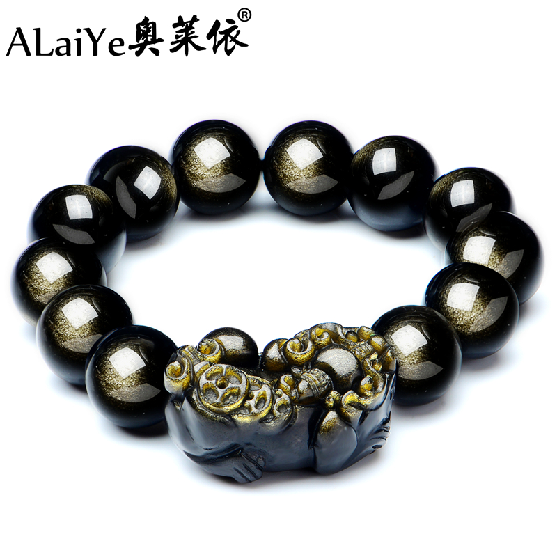 Natural gold bracelet men obsidian brave opening the ice kind of obsidian rainbow eye beads bracelets crystal jewelry