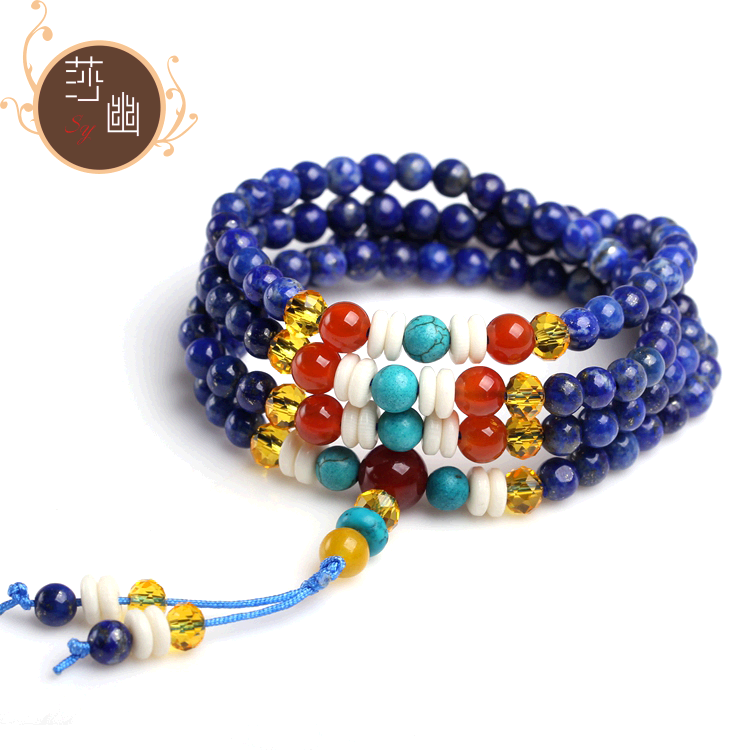 Natural lapis lazuli bracelet female models lucky multilayer afghan lapis lazuli beads original 108 gift 5 MM
