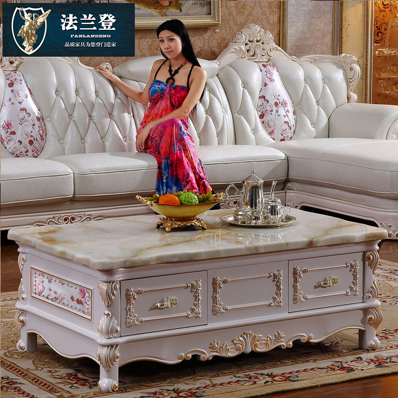 Natural marble coffee table combination of solid wood tv cabinet ivory white european small apartment minimalist living room furniture suite