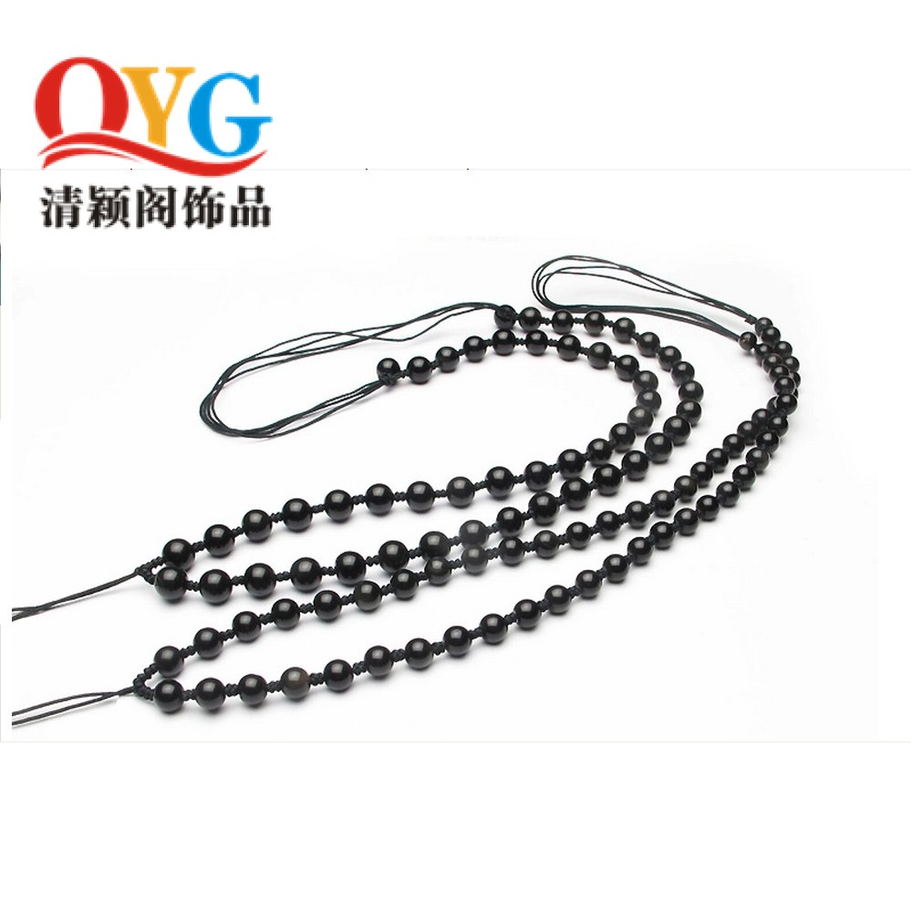 Natural obsidian beads diy crystal loose beads jewelry accessories pendant necklace rope chain handmade lanyard