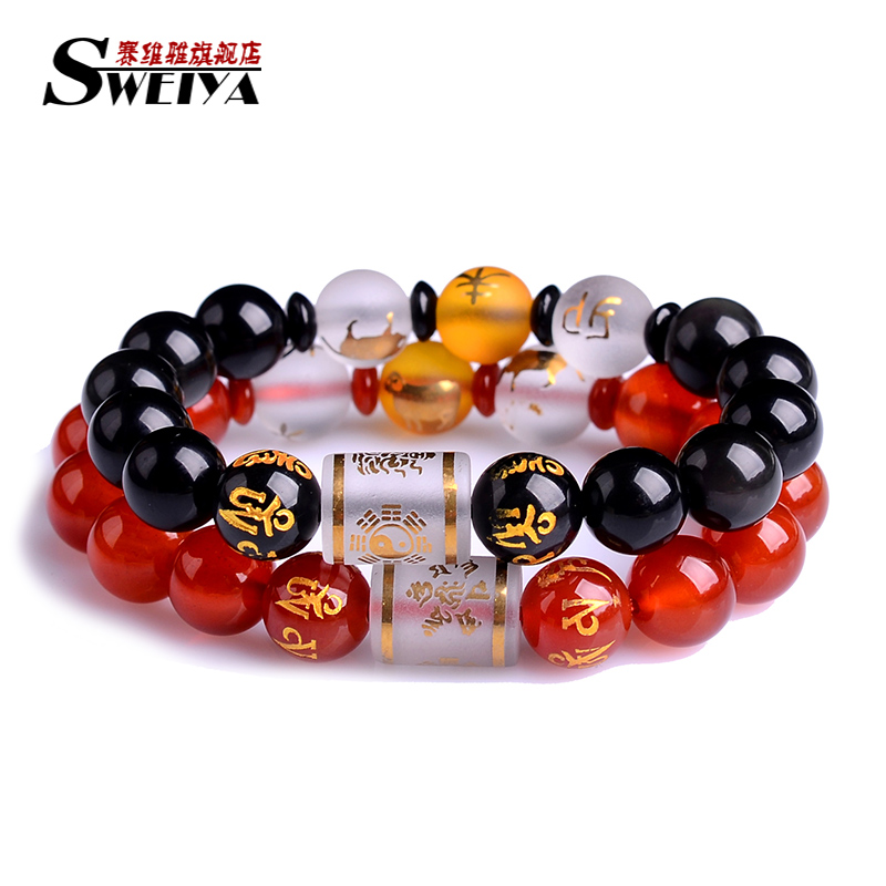 Natural obsidian bracelet male and female models lap couple models red agate beads bracelets crystal jewelry korean version of the gift