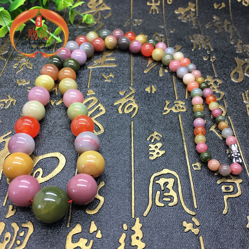 Natural red agate south sichuan liangshan yanyuan agate material colorful candy colored tower chain necklace big stars female collection