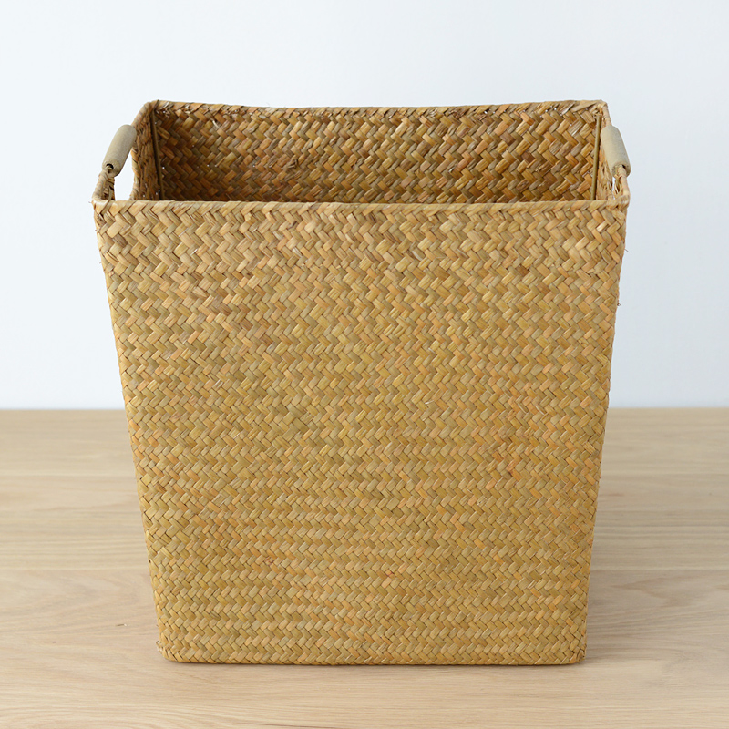 Natural sea non rattan wicker straw storage box handle wooden handle large storage basket storage baskets