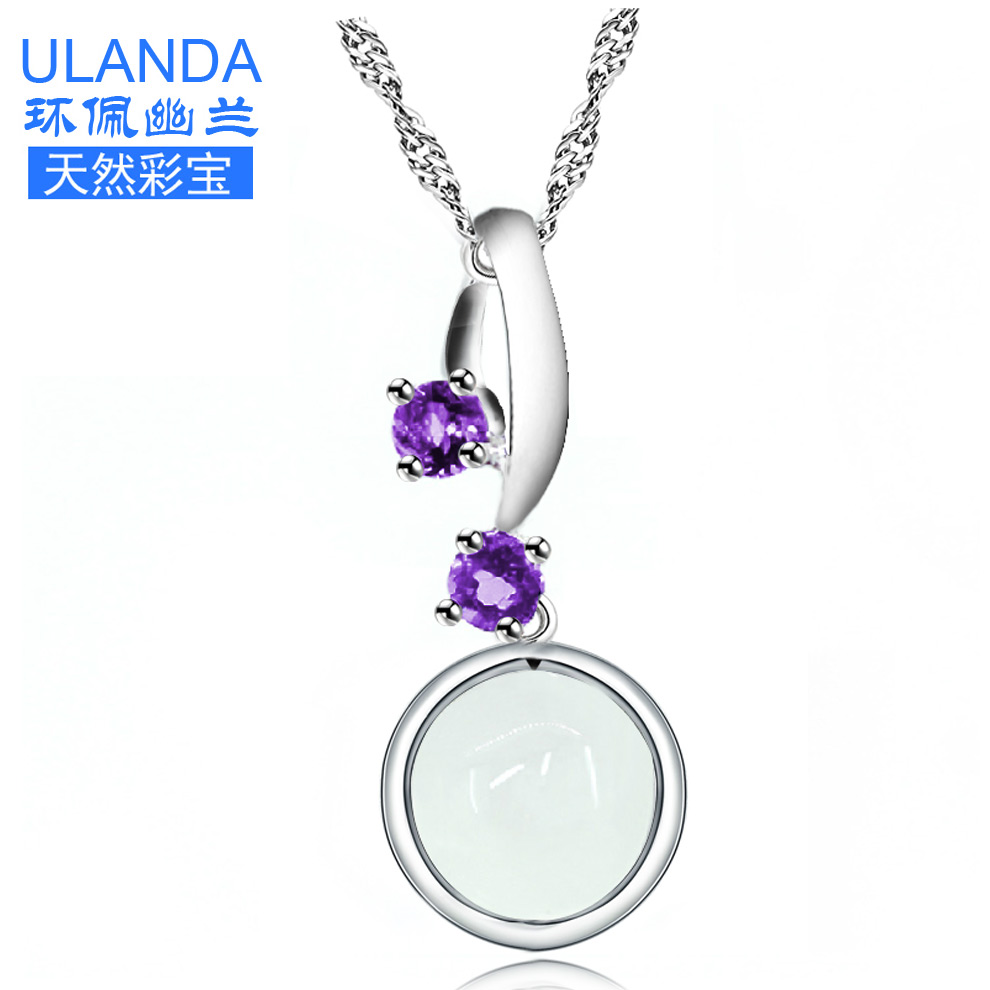 Natural semi precious stones ice kind of chalcedony pendant couple of men and women silver jewelry 925 silver purple crystal pendant necklace female