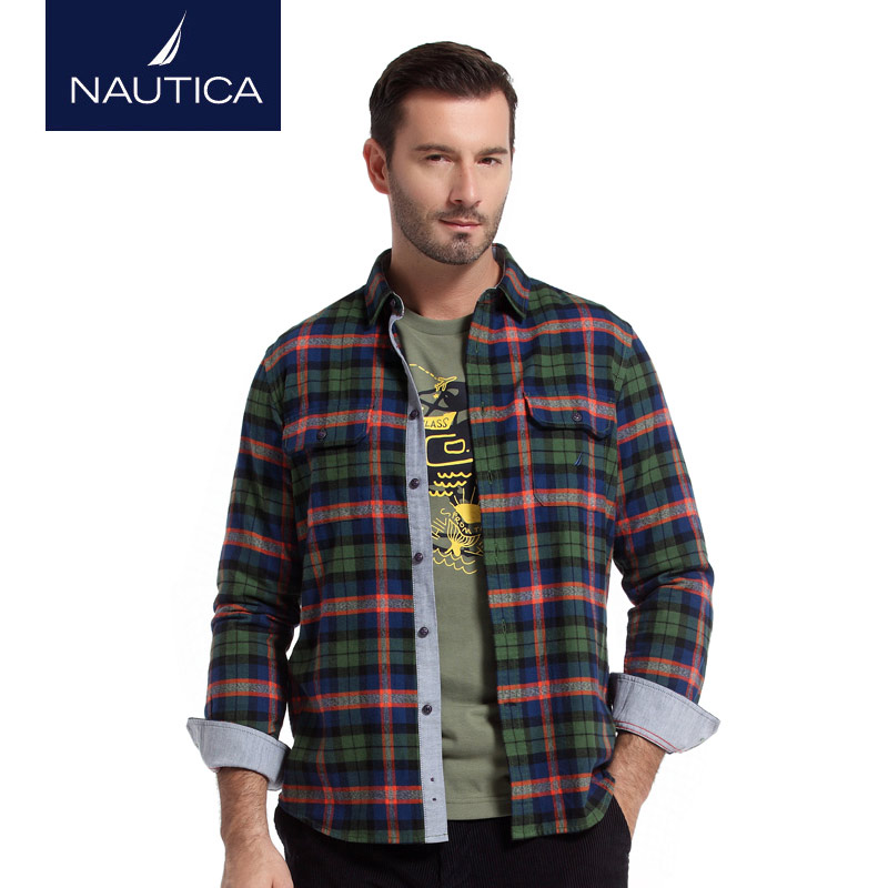 Nautica/nautica men's fall and winter flannel plaid long sleeve shirt W44132H