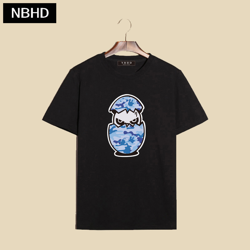 Nbhd tide brand on the west coast harajuku style retro cotton panda printed round neck personality body shirt short sleeve t-shirts for men and women