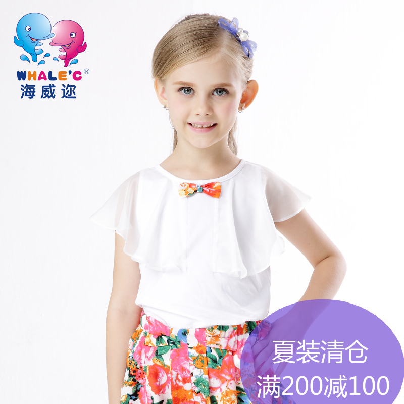 Near high wycombe kids girls 2016 summer new girls short sleeve chiffon short sleeve t-shirt t-shirts for children t-shirts